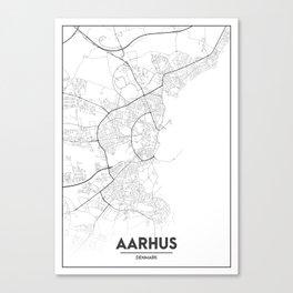 Minimal City Maps - Map Of Aarhus, Denmark. Canvas Print