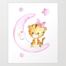 girl baby tiger animals watercolor painting Art Print