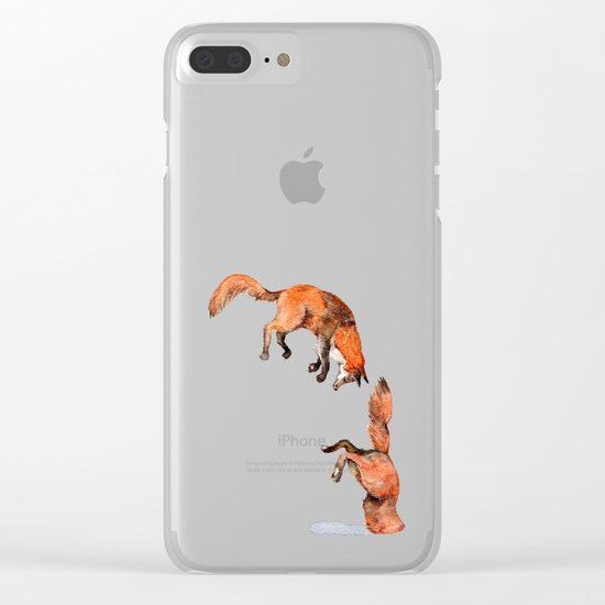 Jumping Red Fox Clear iPhone Case