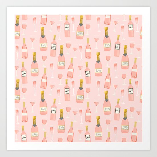 Rose all day - rose, wine, champagne, lady art, trendy fun girls art by charlottewinter