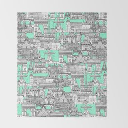 Paris toile aquamarine Throw Blanket