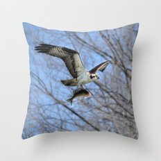 Osprey and Prey - Wildlife Photography Throw Pillow