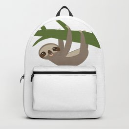 Three-toed sloth on green branch Backpack