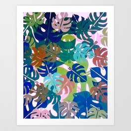 Monstera Leaf Camoflage Blue Art Print