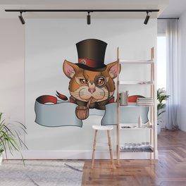 cat old school tattoo Wall Mural