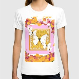 White Butterflies Orchid Sprays Purple Lilac-Gold Patterns T-shirt