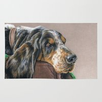 the hound Area & Throw Rugs featuring Hound Dog by Sarahphim Art
