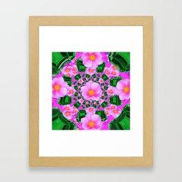 May Babies Emerald Gems & Pink Roses Framed Art Print