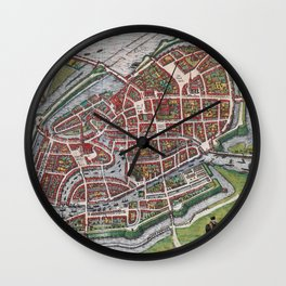 Hamburg Germany antique map plan Wall Clock