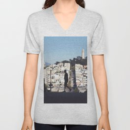 Silhouette from Near Lombard Looking Toward Coit Tower, San Francisco Unisex V-Neck