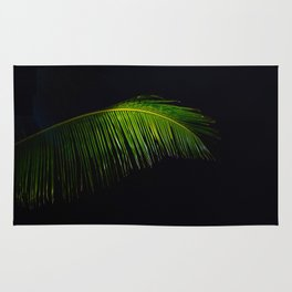 Single Tropical Palm Tree Branch Leaf Rug