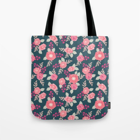 Ranunculus gardener garden floral flowers boho navy pink pastel cute pattern dorm college trendy Tote Bag