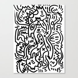 Graffiti Street Art Black and White Canvas Print