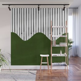 lines and wave (green) Wall Mural