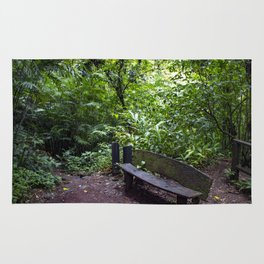Wood Bench in the Middle of the Rainforest on the Mombacho Volcano in Nicaragua Rug
