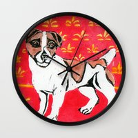 jack russell Wall Clocks featuring Jack Russell by Mandarin Duck Craft