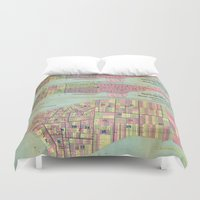 political Duvet Covers featuring Vintage NYC Political Ward Map (1870) by BravuraMedia