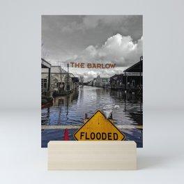 Flooded Outdoor Market in Sebastopol, California Colore/Black & White Mashup Mini Art Print