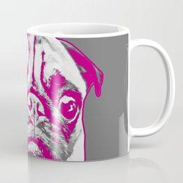 Sweet pug in pink and gray. Pop art style portrait. Coffee Mug