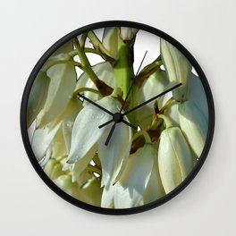 white flowers on white Wall Clock