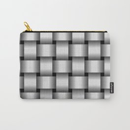 Large Pale Gray Weave Carry-All Pouch