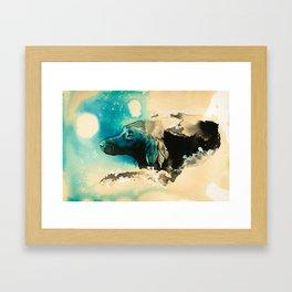 The Swim Fan | Flat Coated Retriever Framed Art Print