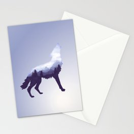 Wolf Double Exposure Surreal Wildlife Animal Wolves Gifts Stationery Cards