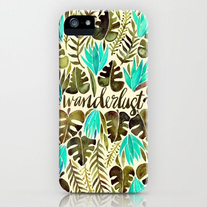 Tropical Wanderlust – Turquoise & Olive iPhone Case
