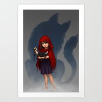 red riding hood Art Prints featuring Little Red Riding Hood by Fernanda Suarez