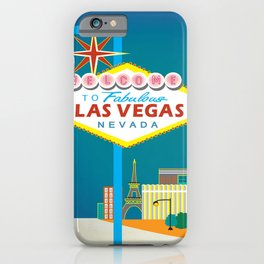 Las Vegas, Nevada - Skyline Illustration by Loose Petals iPhone Case
