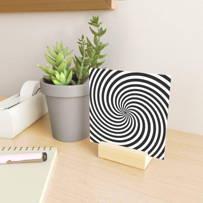 Black And White Op Art Spiral Mini Art Print