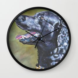 A Curly-Coated Retriever dog portrait from an original painting by L.A.Shepard Wall Clock