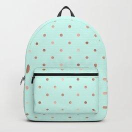 Mint & Rose Gold Polka Dot Pattern Backpack