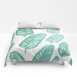 Bright green and blue leaves Comforters