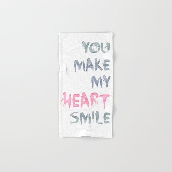 You make my heart smile ink lettering Hand & Bath Towel