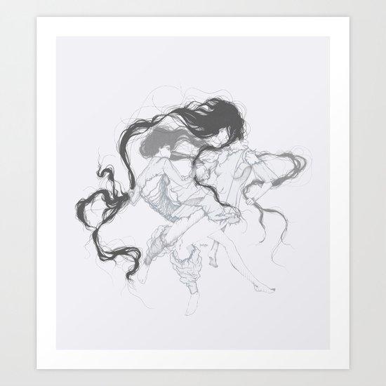 Girls fighting dressed in Marques'Almeida Art Print