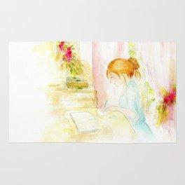 Girl studying Rug