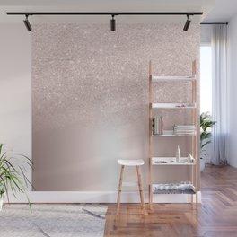 Rose gold glitter ombre metallic gradient Wall Mural