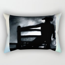 Cowboy In The Misty Night Rectangular Pillow