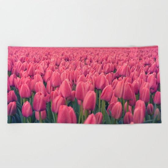 Tulips Field #5 Beach Towel