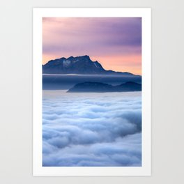 Sea of Fog in the Alps Art Print