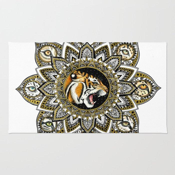 Black and Gold Roaring Tiger Mandala With 8 Cat Eyes Rug