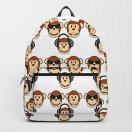 Illustration of Cartoon Three Monkeys - See, Hear, Speak No Evil Backpack