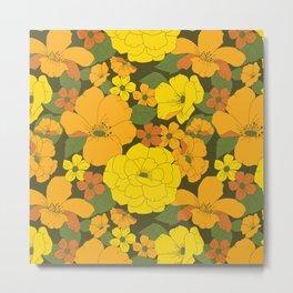 Orange & Yellow Lilies Retro Floral Pattern Metal Print