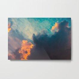Clouds illuminated and rising sun Metal Print