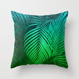 TROPICAL GREEN BLUE LEAVES Throw Pillow