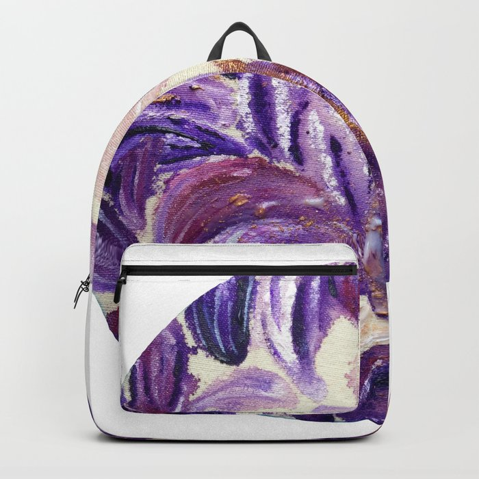 Purple Leaves with Gold Flakes Backpack