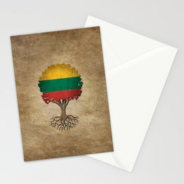 Vintage Tree of Life with Flag of Lithuania Stationery Cards