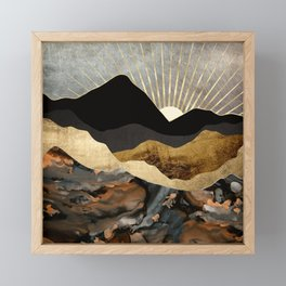 Copper and Gold Mountains Framed Mini Art Print