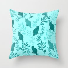 Watercolor Floral and Cat VIII Throw Pillow